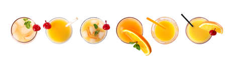 Set of Tequila Sunrise cocktails on white background, top view. Banner design
