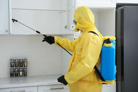 Pest control worker in protective suit spraying insecticide on furniture indoors