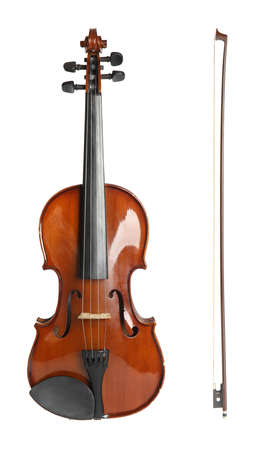 Beautiful classic violin and bow on white background