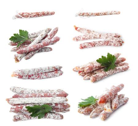 Set of tasty sausage on white background