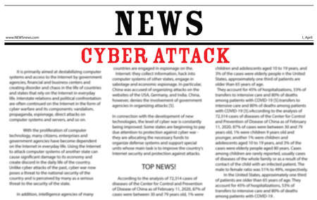 Closeup view of newspaper with headline CYBER ATTACK