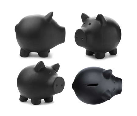 Set with black piggy bank on white background