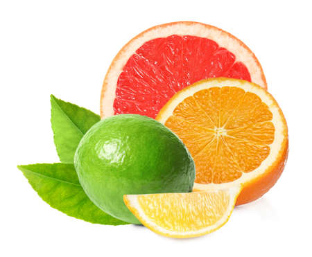 Different citrus fruits with leaves on white background Stock Photo