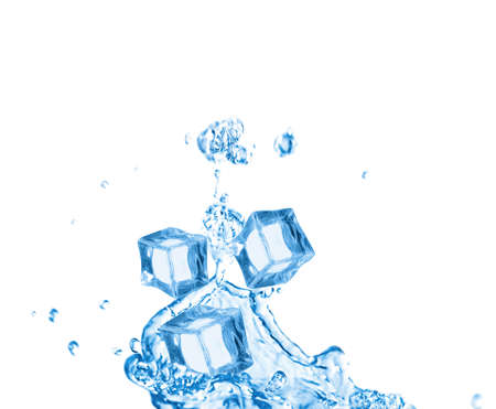 Crystal clear ice cubes and splashing water on white background