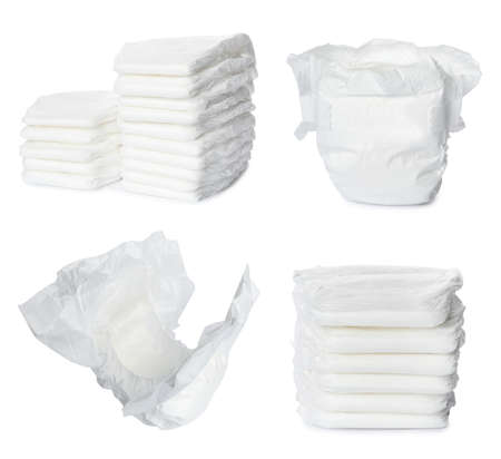 Set of baby diapers on white background Stock Photo