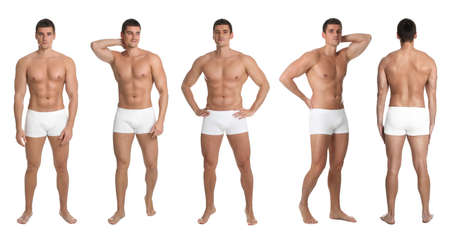 Collage of man with body on white background. Banner design