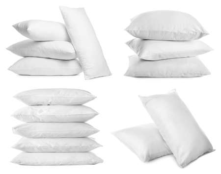 Collage of different soft pillows on white background Stockfoto