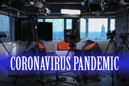 Modern video recording studio. Coronavirus pandemic - latest updates Foto de archivo