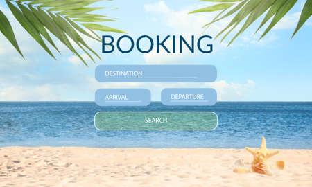 Picturesque view of beautiful beach near sea. Travel agency website Standard-Bild