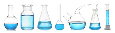 Set of laboratory glassware with blue liquid on white background. Banner design Banque d'images