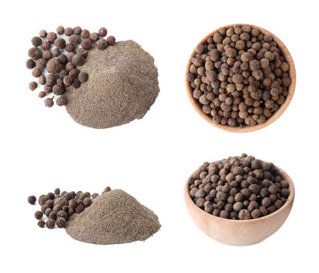 Set of ground pepper and grains on white background