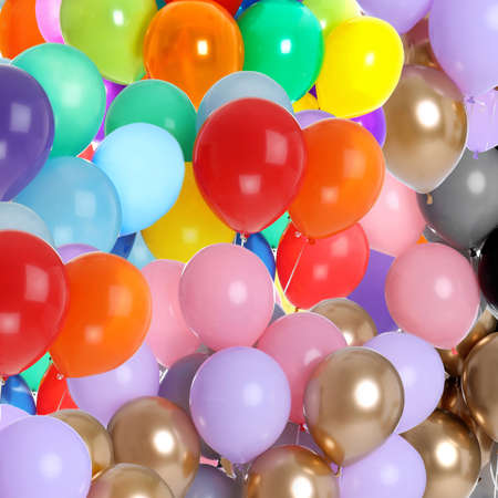 Different color balloons as background. Party decor Stock Photo