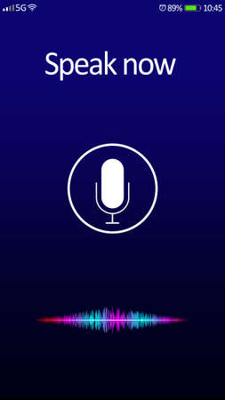 Smartphone display with activated voice search app