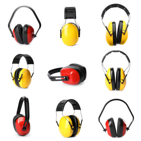 Set with protective headphones on white background. Construction tool