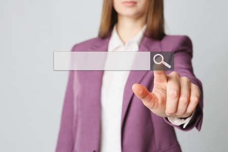 Businesswoman using search bar on virtual screen, closeup