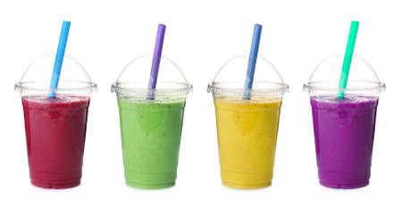 Set of different fresh tasty smoothies on white background. Banner design Reklamní fotografie