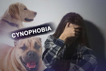 Scared young woman suffering from cynophobia on white background. Irrational fear of dogs Zdjęcie Seryjne