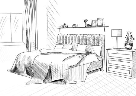 Comfortable bed with pillows in room. Illustrated interior design