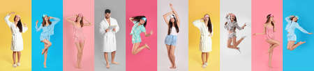 Collage of women and man with sleep masks on color background. Banner design Stock Photo