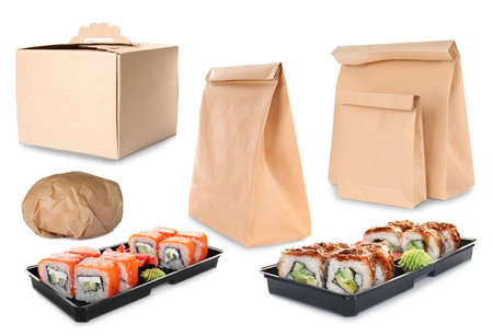 Collage of cardboard and plastic containers on white background. Food delivery Фото со стока