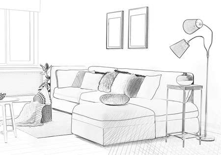 Stylish living room with comfortable sofa. Illustrated interior design