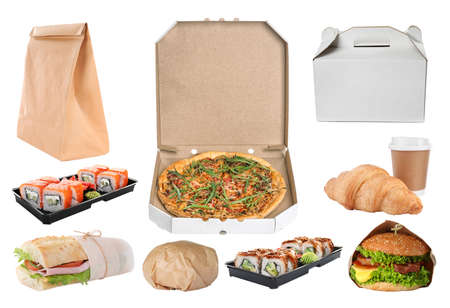 Collage of cardboard and plastic packages with fresh food on white background. Online delivery