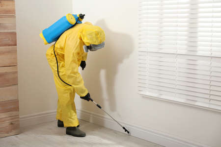 Pest control worker in protective suit spraying insecticide on floor at home. Space for text