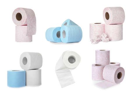Set with color rolls of toilet paper on white background