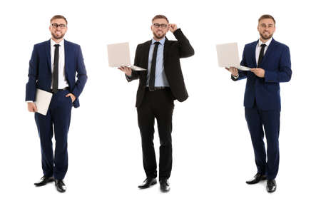 Collage of young men with laptops on white background