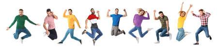 Collage of emotional people jumping on white background. Banner design Archivio Fotografico
