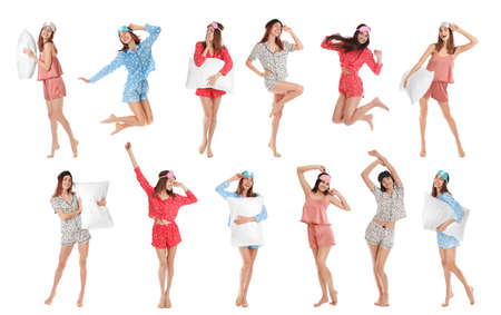 Collage of women with sleep masks on white background. Bedtime
