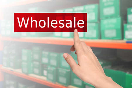 Woman clicking Wholesale button and blurred view of warehouse on background