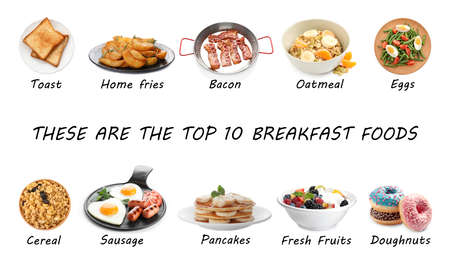 Set of different delicious dishes for breakfast on white background