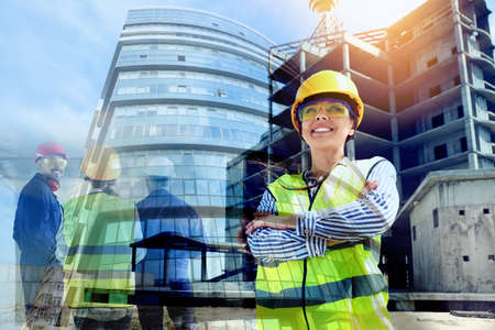 Multiple exposure of female industrial engineer in uniform, workers and construction