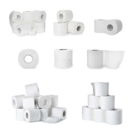 Set with rolls of toilet paper on white background