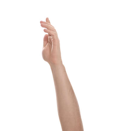 Man extending hand on white background, closeup Archivio Fotografico