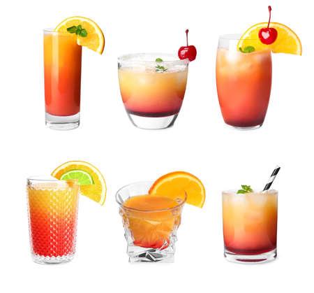 Set of Tequila Sunrise cocktails on white background