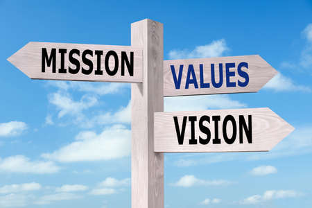 Wooden signpost with Mission, Vision and Values arrows against blue sky Stock fotó