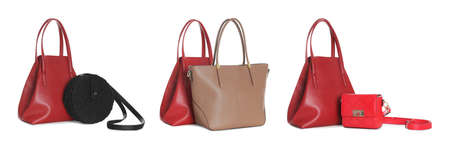 Set of different woman's bags on white background. Banner design Standard-Bild