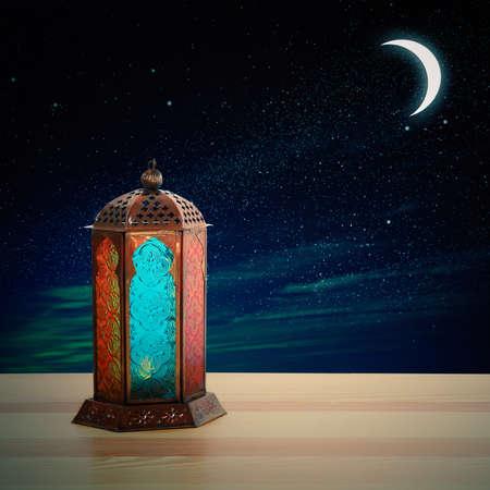 Traditional Ramadan lantern on table. Muslim holiday