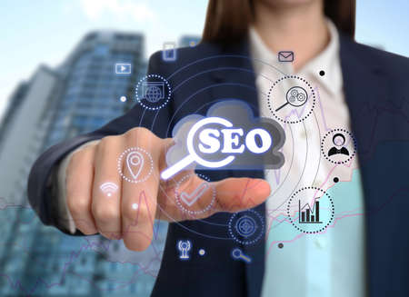 SEO directions with icons of keyword research, customization and others. Woman using virtual screen, closeup