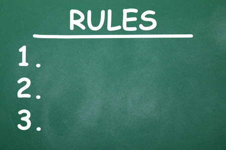 Chalkboard with list of rules as background