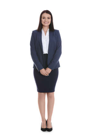 Full length portrait of young housekeeping manager on white background Banco de Imagens - 150647870