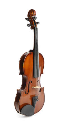 Beautiful classic violin isolated on white. Musical instrument