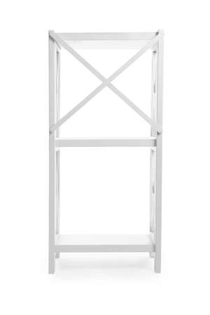 Empty wooden shelving unit isolated on white