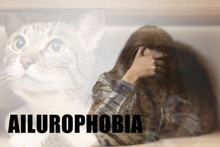 Woman suffering from ailurophobia. Irrational fear of cats