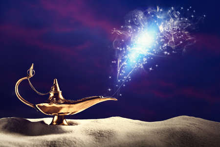 Genie appearing from magic lamp of wishes. Fairy tale Standard-Bild
