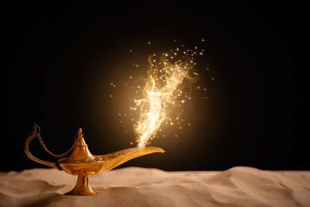 Genie appearing from magic lamp of wishes. Fairy tale