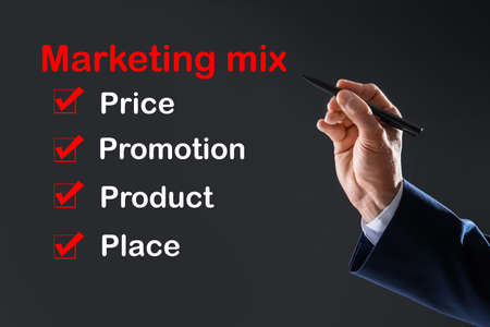 Marketing mix concept. Businessman demonstrating 4P principles, closeup