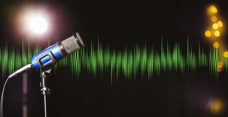 Microphone and radio wave on dark background, bokeh effect. Banner design